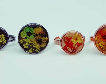 Real Flower Ring, Rose Gold, Space Grey