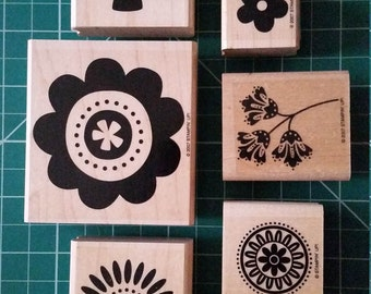 Rubber Stamps, Stampin' Up, Flowers, 6 Lightly Used Stamps!