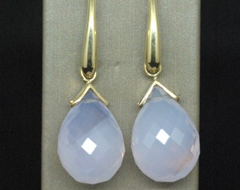 Earrings yellow gold and Moonstone / Yellow gold and Moonstone Earrings