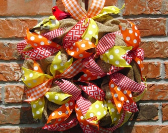 Vibrant Wreath, Summer Wreath, Indoor Wreath, Kitchen Wreath, Polka Dot Wreath, Front Door Wreath, Yellow and Red Wreath,  Colorful Wreath