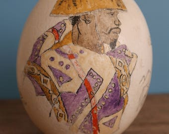 1994, Hand Painted Ostrich Egg, Signed V.S, Depicting the Basuto people and the Basuto pony breed from South Africa