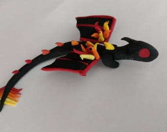 Polymer clay fire dragon handmade flaming tail