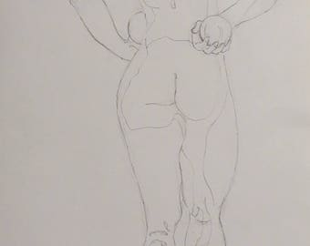 figure drawing of standing woman