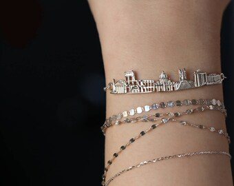 Silver dainty bracelet custom bracelets cityscape bracelet rose gold bracelet silver bar bracelet designer bracelet art deco jewelry  Rome