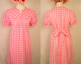 50% FLASH SALE - 60s Pink and White Checkered Marian Sue Shift Dress w/ Cap Sleeves
