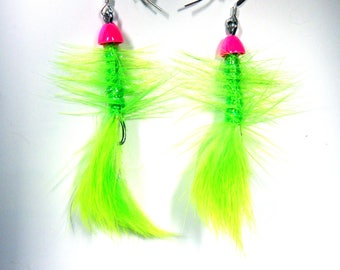 Pink and Chartreuse Fly Fishing Earrings