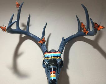 Painted Deer Skull Taxidermy Art with butterflies