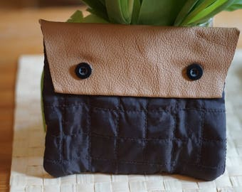 Leather quilted fabric pouch