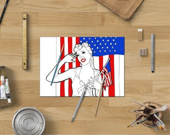 Pinup art coloring page,Pinup coloring adults,Patriotic coloring page,Patriotic gifts,Instant download,Pinup download,Printable coloring