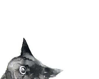 Black Cat Watercolor Painting, Printable for the Home Nursery, Animal Print, Watercolour Cat, Cute cat, Cat Lovers Gift, Funny art, Boho art