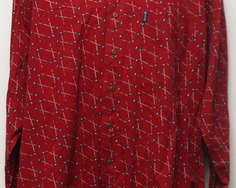 """90's Vintage """"CHAPS RALPH LAUREN"""" Long-Sleeve Patterned Multicolor Shirt Sz: Large"""