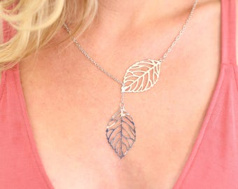 Silver Double Leaf Necklace Layered Mother's Day Gift (AM1005)