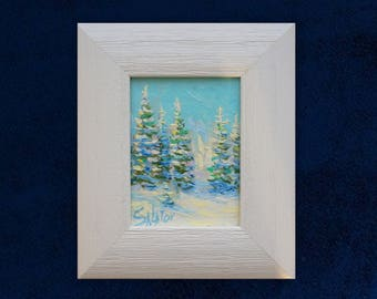 Original mini oil painting winter landscape fine art framed ready to hang artwork white forest Home Living Room Bedroom Nursey Hall Decor
