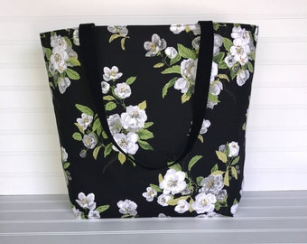 Handmade Everyday Tote | Market Bag |  Black & White Floral Tote