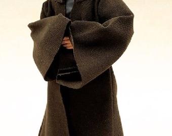 MY-R-TN: FIGLot 1/12 scale Dark Brown Jedi Fabric Robe for SHF, Hasbro Star Wars Figures