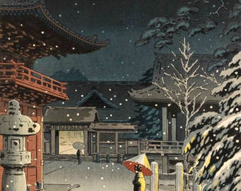 "Japanese Art Print ""Snow at Nezu Shrine (Woman in Snow)"" by Tsuchiya Koitsu, woodblock print reproduction, asian art, cultural art, snowfall"