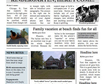Two-page Family Times Newspaper Template - Instant Download to use in Word