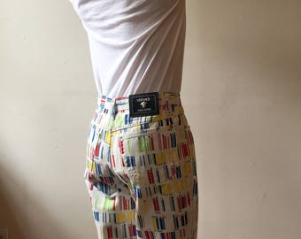 Versace Jeans Couture White Rainbow Barcode Pants. Size 32. Made in Italy.
