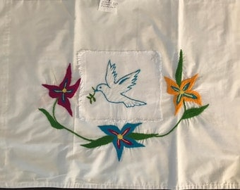 hand stitched pillowcase- white dove and flowers