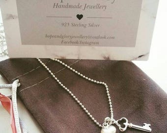 """18"""" Sterling Silver Necklace with Key and Heart"""