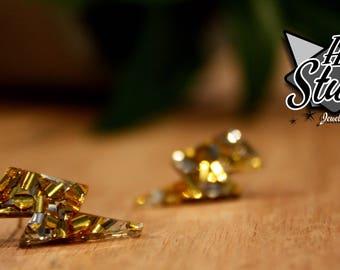 Lightning Bolt Earring Studs - Gold & Silver Glitter