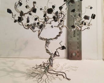 wire tree, black and silver