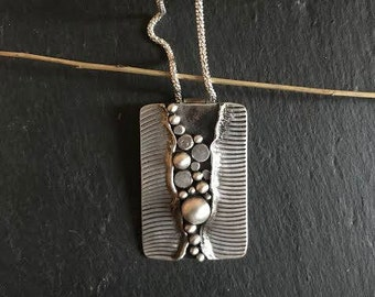 Pendant; River Rocks. Contemporary Handmade Sterling Silver