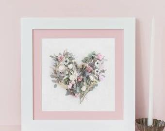 Floral Love Heart Print