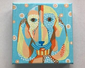 """Dog Portrait - Cute Puppy 6"""" x 6"""" (15.2cm x 15.2cm) Canvas - Cute Dog - Basset Hound - 1.5"""" (3.5cm) wood frame profile"""