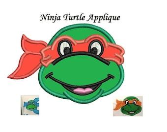 Ninja Turtle Applique Embroidery Design - 3 design sizes  - Mutant Ninja INSTANT DOWNLOAD