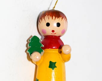 Vintage Wooden Angel Christmas Ornament Wingless