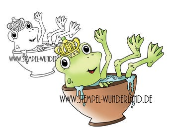 Digi stamp frog in the cup of frog with Crown of digital stamp + coloured printable