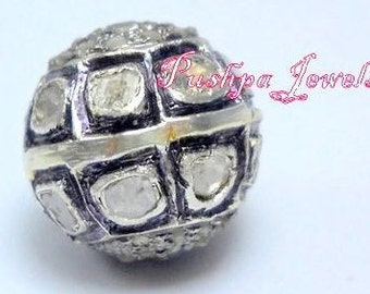 Victorian style Rose cut Pave diamond large Polki diamond 15mm Bead Ball jewelry making/jewelry finding for bracelets and necklace- PJBE2004
