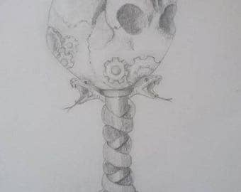 Pencil sketch of a Gothic cup.
