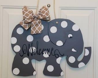 Elephant Door Hanger, Welcome Door Art, Elephant, Door Decor, Polka Dots, Summer Door Art, Fall Door Art, wreath, Baby Shower,