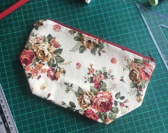 Beautiful Rose print makeup bag. Cosmetics bag.