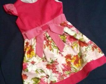 A pink, floral dress, baby doll, summer dress, party dress
