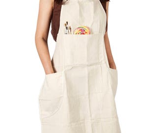 Professional Adult Artist Cotton Canvas In-adjustable Bib Apron for Garden Painting Kitchen