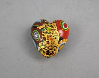 Lampworked Artisan Glass Mosaic Multicolored Heart Shaped Bead with Gold Leaf, Murano Canes, and Baubles #2