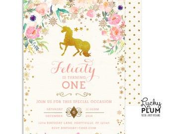 Unicorn Birthday Invitation / Winter Wonderland Birthday Invitation / Winter Onederland Birthday Invitation / First Birthday Invitation