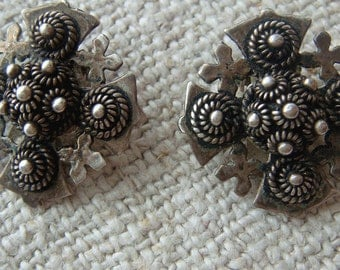 Vintage Silver Cross Earrings,  Clip On Maltese Jerusalem Cross,  Cannetille Wirework 950 Silver Ornate