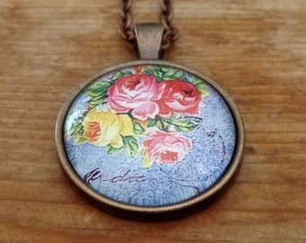 Pink Rose Necklace, Floral Pendant Necklace,  Shabby Chic Necklace, Glass Cabochon, Floral Pendant, Glass Dome Pendant, Gift for Her