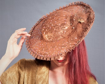 Gorgeous Whittall & Javits Pin Up Hat / COPPER Lace with Sequins / 50s Style WIDE BRIM Hat