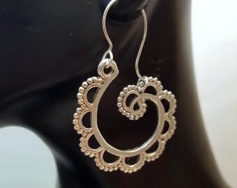 Scalloped Swirl Earrings, Antique Silver Scalloped Swirl Earrings, Bohemian Swirl Earrings, Eclectic Style, Scalloped Swirl Gypsy Earrings