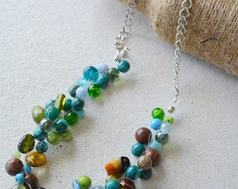 Crochet beads. Cool Peacock Blue and Green Boho Chunky Necklace. Original. One of a kind. Summer Temperature April 2017.