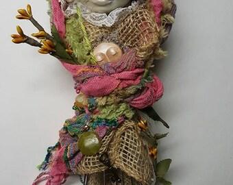 Bohemian Art Dolls, Wedding Gift, Handcrafted Figure, Burlap Lace Decor, Cottage shic decor, Unique Wall Decor,Tattered Lace, Magic Whisk