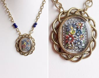 Gold Flower Necklace - Victorian Locket Pendant, Gold Filled - Blue and Red Floral 30s Glass Cabochon - Lapis Stone Beads - Handmade OOAK