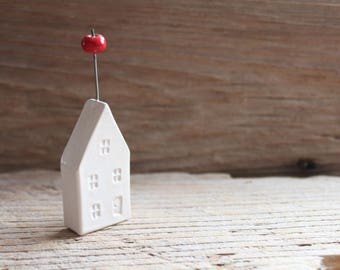 Ceramic Miniature White House with Heirloom Tomato - Ready to Ship