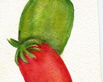 Tomatoes watercolor painting  original, Minimalist Modern red & green tomato Roma watercolor painting,  Farmhouse decor 4 x 6