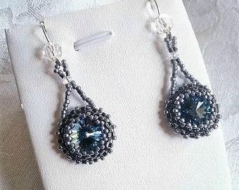Meteorite Drops Swarovski Crystal Rivoli Earrings